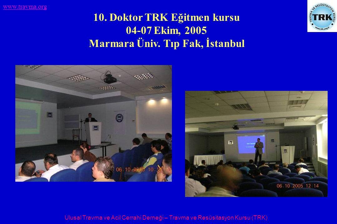 Ulusal Travma ve Acil Cerrahi Derneği – Travma ve Resüsitasyon Kursu (TRK) www.travma.org 10. Doktor TRK Eğitmen kursu 04-07 Ekim, 2005 Marmara Üniv.