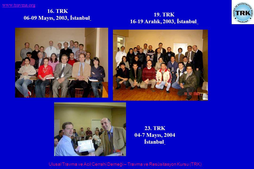 Ulusal Travma ve Acil Cerrahi Derneği – Travma ve Resüsitasyon Kursu (TRK) www.travma.org 16. TRK 06-09 Mayıs, 2003, İstanbul 19. TRK 16-19 Aralık, 20