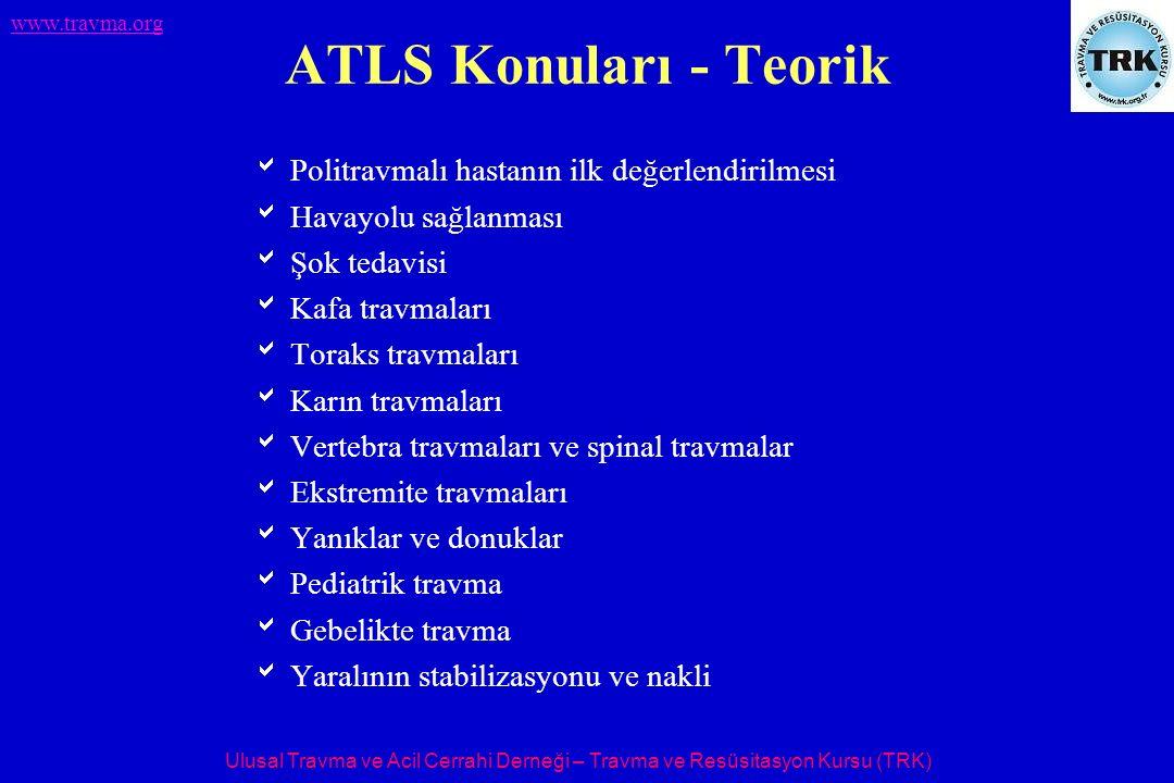 Ulusal Travma ve Acil Cerrahi Derneği – Travma ve Resüsitasyon Kursu (TRK) www.travma.org ATLS Konuları - Teorik  Politravmalı hastanın ilk değerlend