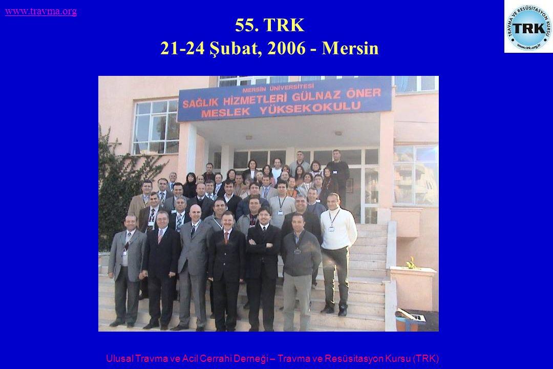 Ulusal Travma ve Acil Cerrahi Derneği – Travma ve Resüsitasyon Kursu (TRK) www.travma.org 55. TRK 21-24 Şubat, 2006 - Mersin