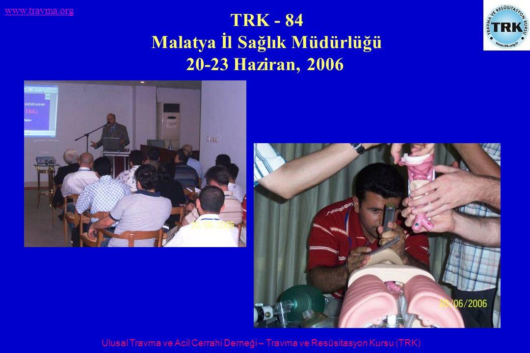 Ulusal Travma ve Acil Cerrahi Derneği – Travma ve Resüsitasyon Kursu (TRK) www.travma.org TRK - 84 Malatya İl Sağlık Müdürlüğü 20-23 Haziran, 2006