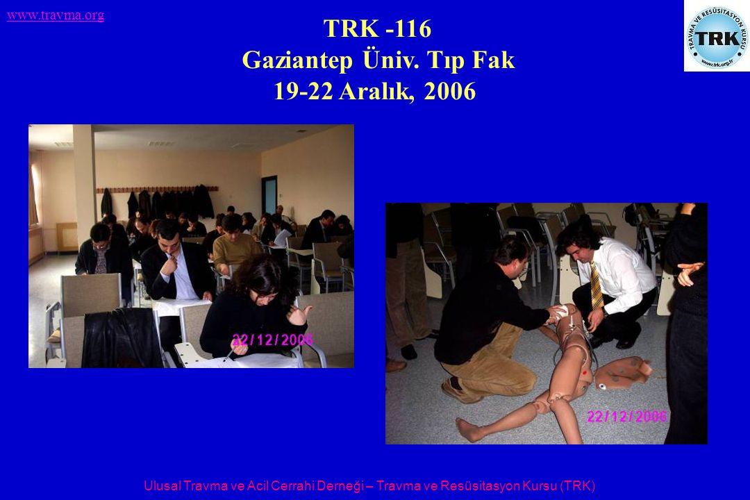 Ulusal Travma ve Acil Cerrahi Derneği – Travma ve Resüsitasyon Kursu (TRK) www.travma.org TRK -116 Gaziantep Üniv. Tıp Fak 19-22 Aralık, 2006