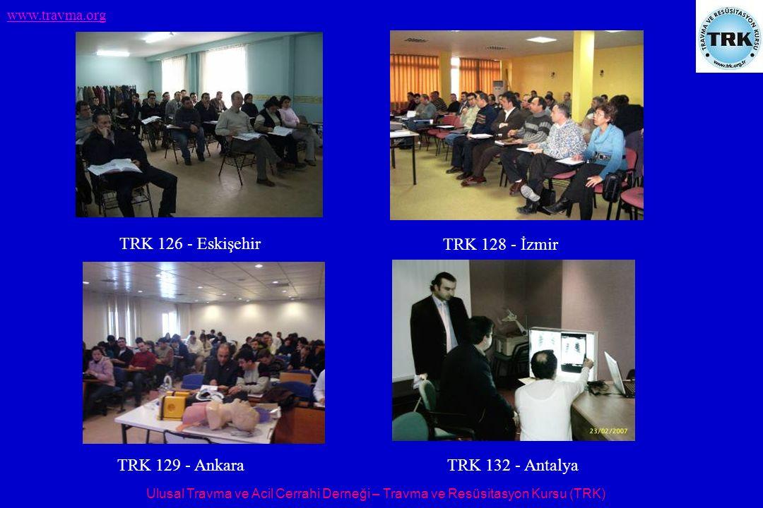 Ulusal Travma ve Acil Cerrahi Derneği – Travma ve Resüsitasyon Kursu (TRK) www.travma.org TRK 126 - Eskişehir TRK 128 - İzmir TRK 129 - Ankara TRK 132