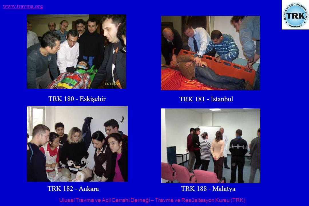 Ulusal Travma ve Acil Cerrahi Derneği – Travma ve Resüsitasyon Kursu (TRK) www.travma.org TRK 180 - Eskişehir TRK 181 - İstanbul TRK 182 - Ankara TRK