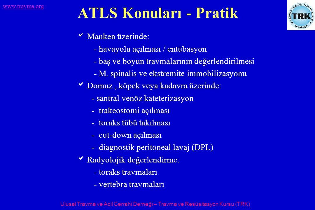 Ulusal Travma ve Acil Cerrahi Derneği – Travma ve Resüsitasyon Kursu (TRK) www.travma.org HTT - TRK merkezleri