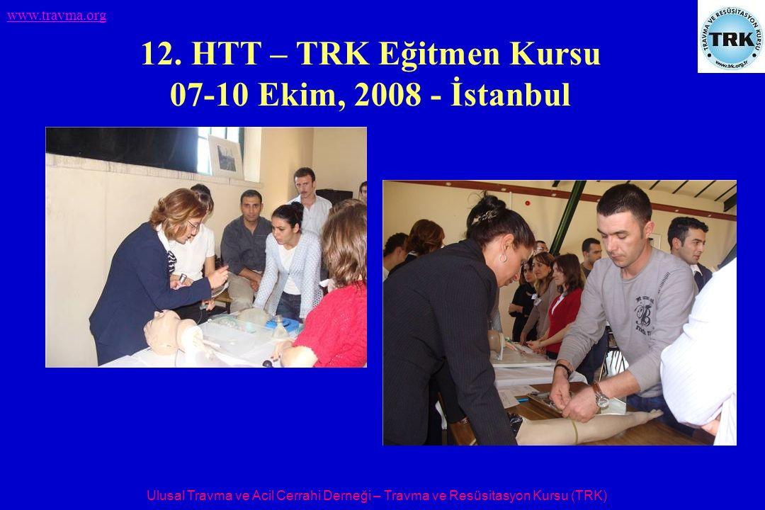 Ulusal Travma ve Acil Cerrahi Derneği – Travma ve Resüsitasyon Kursu (TRK) www.travma.org 12. HTT – TRK Eğitmen Kursu 07-10 Ekim, 2008 - İstanbul