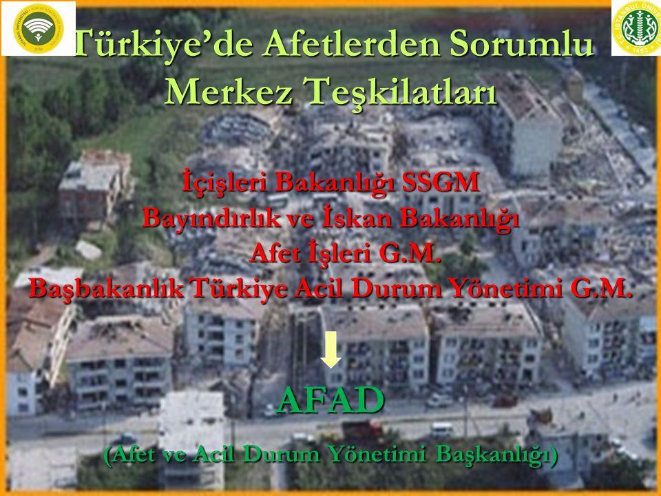 Türkiye'de Afetlerden Sorumlu Merkez Teşkilatları İçişleri Bakanlığı SSGM Bayındırlık ve İskan Bakanlığı Afet İşleri G.M. Başbakanlık Türkiye Acil Dur