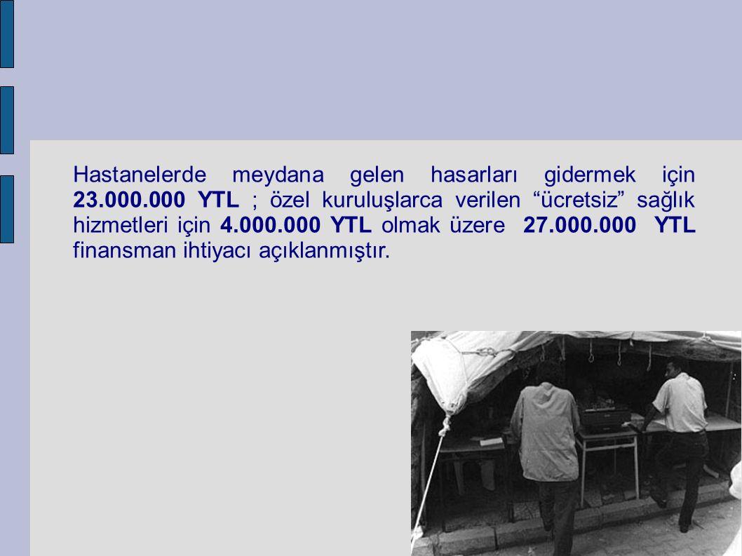 Hastanelerde meydana gelen hasarları gidermek için 23.000.000 YTL ; özel kuruluşlarca verilen ücretsiz sağlık hizmetleri için 4.000.000 YTL olmak üzere 27.000.000 YTL finansman ihtiyacı açıklanmıştır.