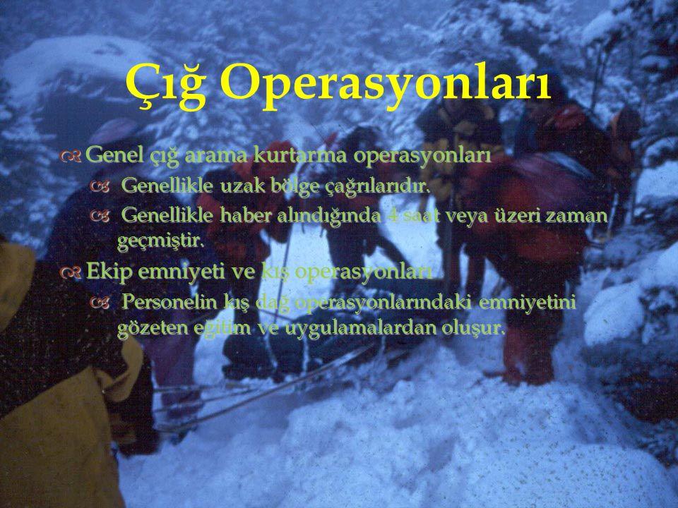  Çığ Operasyonları  Genel çığ arama kurtarma operasyonları  Genellikle uzak bölge çağrılarıdır.