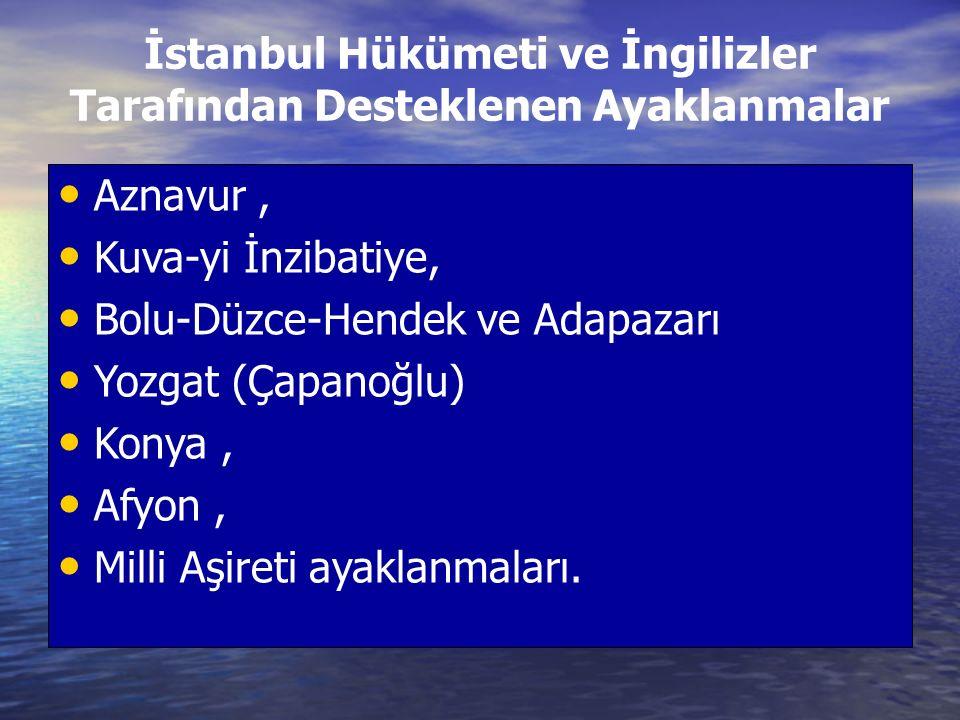 İstanbul Hükümeti ve İngilizler Tarafından Desteklenen Ayaklanmalar Aznavur, Kuva-yi İnzibatiye, Bolu-Düzce-Hendek ve Adapazarı Yozgat (Çapanoğlu) Konya, Afyon, Milli Aşireti ayaklanmaları.