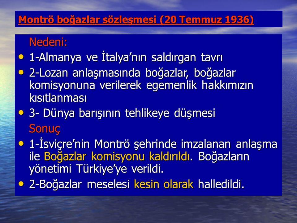 Montrö boğazlar sözleşmesi (20 Temmuz 1936) Nedeni: 1-Almanya ve İtalya'nın saldırgan tavrı 1-Almanya ve İtalya'nın saldırgan tavrı 2-Lozan anlaşmasında boğazlar, boğazlar komisyonuna verilerek egemenlik hakkımızın kısıtlanması 2-Lozan anlaşmasında boğazlar, boğazlar komisyonuna verilerek egemenlik hakkımızın kısıtlanması 3- Dünya barışının tehlikeye düşmesi 3- Dünya barışının tehlikeye düşmesiSonuç 1-İsviçre'nin Montrö şehrinde imzalanan anlaşma ile Boğazlar komisyonu kaldırıldı.