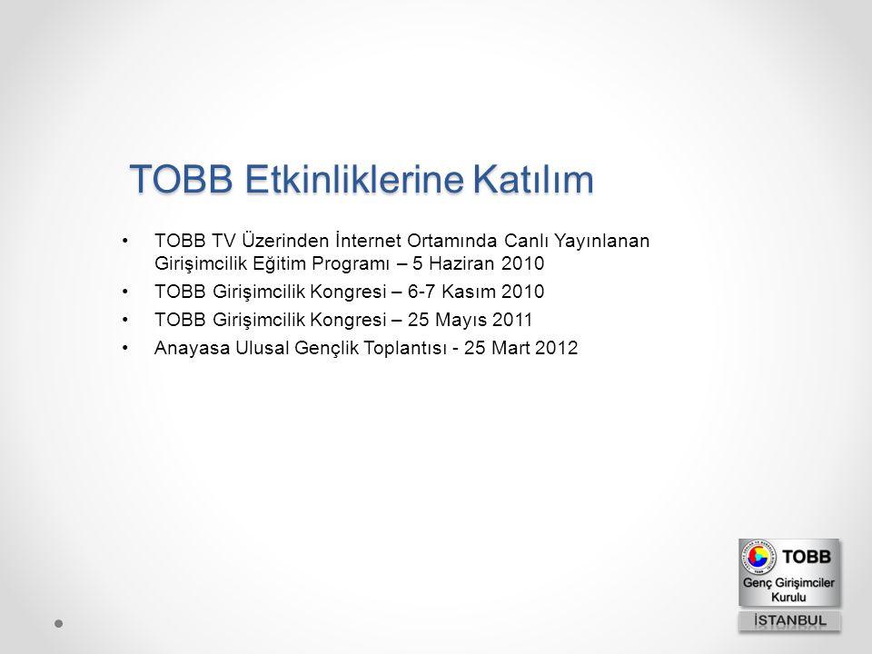 TOBB Etkinliklerine Katılım TOBB TV Üzerinden İnternet Ortamında Canlı Yayınlanan Girişimcilik Eğitim Programı – 5 Haziran 2010 TOBB Girişimcilik Kong