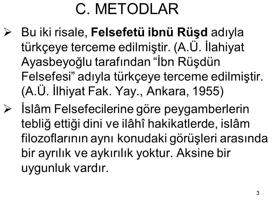 """3 C. METODLAR  Bu iki risale, Felsefetü ibnü Rüşd adıyla türkçeye terceme edilmiştir. (A.Ü. İlahiyat Ayasbeyoğlu tarafından """"İbn Rüşdün Felsefesi"""" ad"""