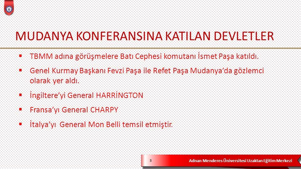 Adnan Menderes Üniversitesi Uzaktan Eğitim Merkezi SALTANATIN KALDIRILMASI 14  Mudanya Mütarekesinden sonra sıra barış antlaşmasına gelmiştir.