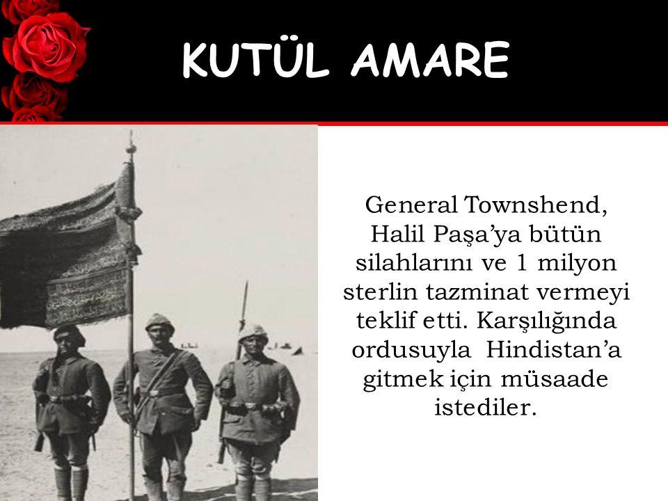 General Townshend, Halil Paşa'ya bütün silahlarını ve 1 milyon sterlin tazminat vermeyi teklif etti.