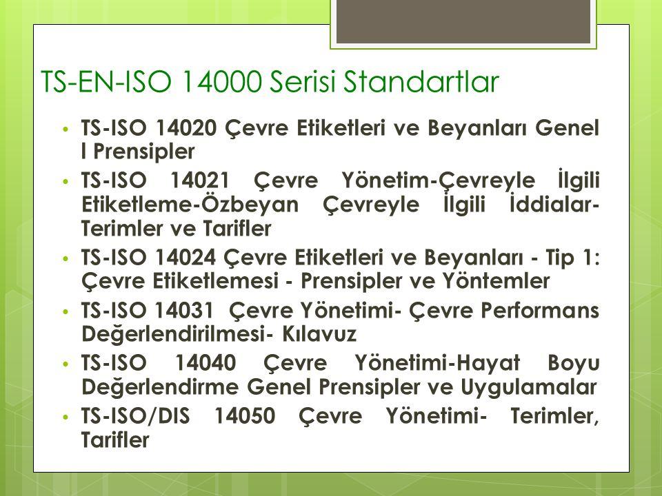 TS-EN-ISO 14000 Serisi Standartlar TS-ISO 14020 Çevre Etiketleri ve Beyanları Genel l Prensipler TS-ISO 14021 Çevre Yönetim-Çevreyle İlgili Etiketleme