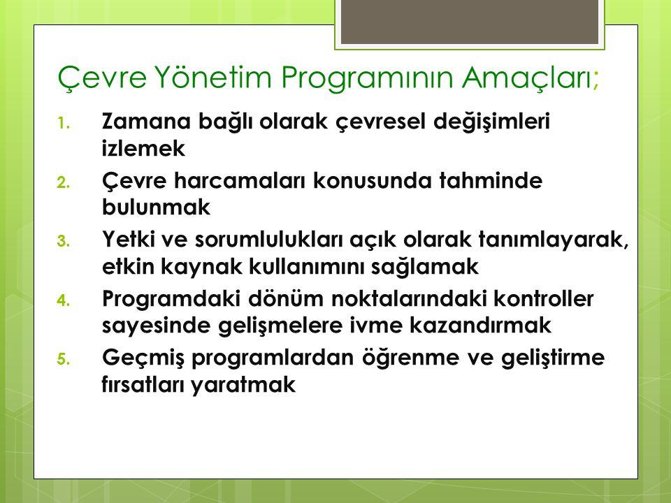 Çevre Yönetim Programının Amaçları; 1. Zamana bağlı olarak çevresel değişimleri izlemek 2. Çevre harcamaları konusunda tahminde bulunmak 3. Yetki ve s