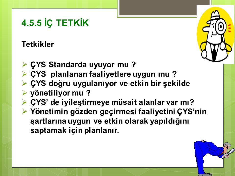 4.5.5 İÇ TETKİK Tetkikler  ÇYS Standarda uyuyor mu .