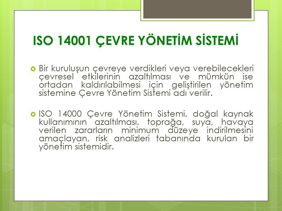 ISO 14001 ÇEVRE YÖNETİM SİSTEMİ  Bir kuruluşun çevreye verdikleri veya verebilecekleri çevresel etkilerinin azaltılması ve mümkün ise ortadan kaldırı