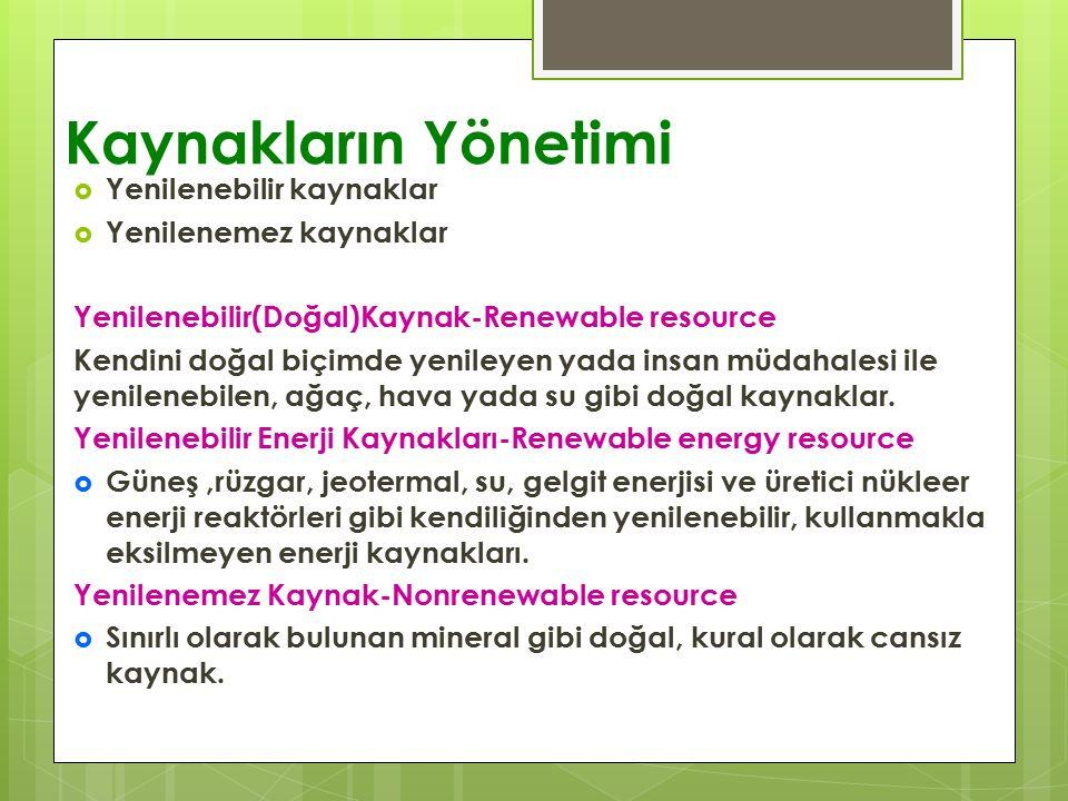 Kaynakların Yönetimi  Yenilenebilir kaynaklar  Yenilenemez kaynaklar Yenilenebilir(Doğal)Kaynak-Renewable resource Kendini doğal biçimde yenileyen yada insan müdahalesi ile yenilenebilen, ağaç, hava yada su gibi doğal kaynaklar.