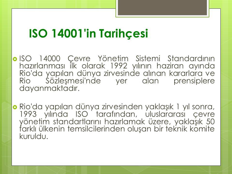 ISO 14001 in Tarihçesi  ISO 14000 Çevre Yönetim Sistemi Standardının hazırlanması ilk olarak 1992 yılının haziran ayında Rio da yapılan dünya zirvesinde alınan kararlara ve Rio Sözleşmesi nde yer alan prensiplere dayanmaktadır.