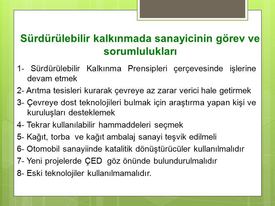 Sürdürülebilir kalkınmada sanayicinin görev ve sorumlulukları 1- Sürdürülebilir Kalkınma Prensipleri çerçevesinde işlerine devam etmek 2- Arıtma tesis