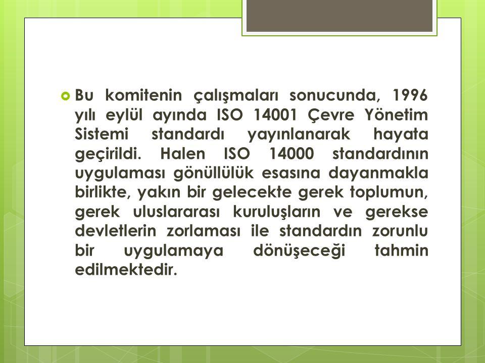  Bu komitenin çalışmaları sonucunda, 1996 yılı eylül ayında ISO 14001 Çevre Yönetim Sistemi standardı yayınlanarak hayata geçirildi. Halen ISO 14000