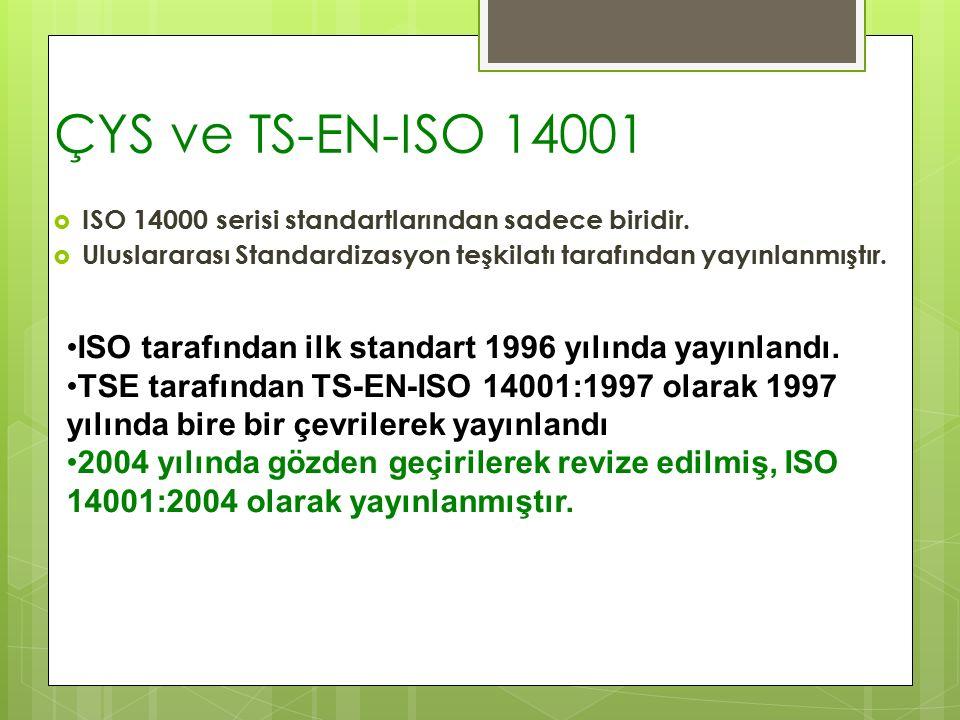 ÇYS ve TS-EN-ISO 14001  ISO 14000 serisi standartlarından sadece biridir.  Uluslararası Standardizasyon teşkilatı tarafından yayınlanmıştır. ISO tar
