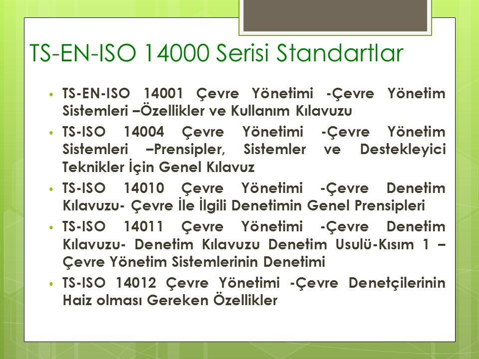 TS-EN-ISO 14000 Serisi Standartlar TS-EN-ISO 14001 Çevre Yönetimi -Çevre Yönetim Sistemleri –Özellikler ve Kullanım Kılavuzu TS-ISO 14004 Çevre Yönetimi -Çevre Yönetim Sistemleri –Prensipler, Sistemler ve Destekleyici Teknikler İçin Genel Kılavuz TS-ISO 14010 Çevre Yönetimi -Çevre Denetim Kılavuzu- Çevre İle İlgili Denetimin Genel Prensipleri TS-ISO 14011 Çevre Yönetimi -Çevre Denetim Kılavuzu- Denetim Kılavuzu Denetim Usulü-Kısım 1 – Çevre Yönetim Sistemlerinin Denetimi TS-ISO 14012 Çevre Yönetimi -Çevre Denetçilerinin Haiz olması Gereken Özellikler