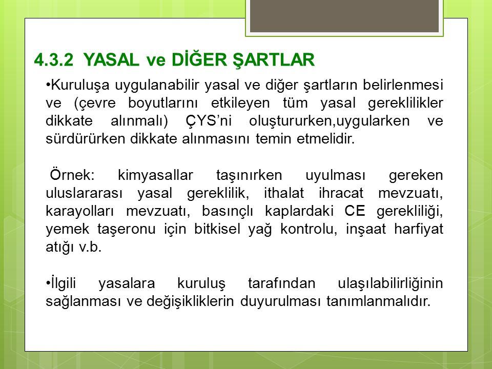 4.3.2 YASAL ve DİĞER ŞARTLAR Kuruluşa uygulanabilir yasal ve diğer şartların belirlenmesi ve (çevre boyutlarını etkileyen tüm yasal gereklilikler dikk