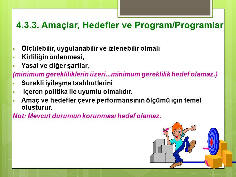 4.3.3. Amaçlar, Hedefler ve Program/Programlar  Ölçülebilir, uygulanabilir ve izlenebilir olmalı  Kirliliğin önlenmesi,  Yasal ve diğer şartlar, (m