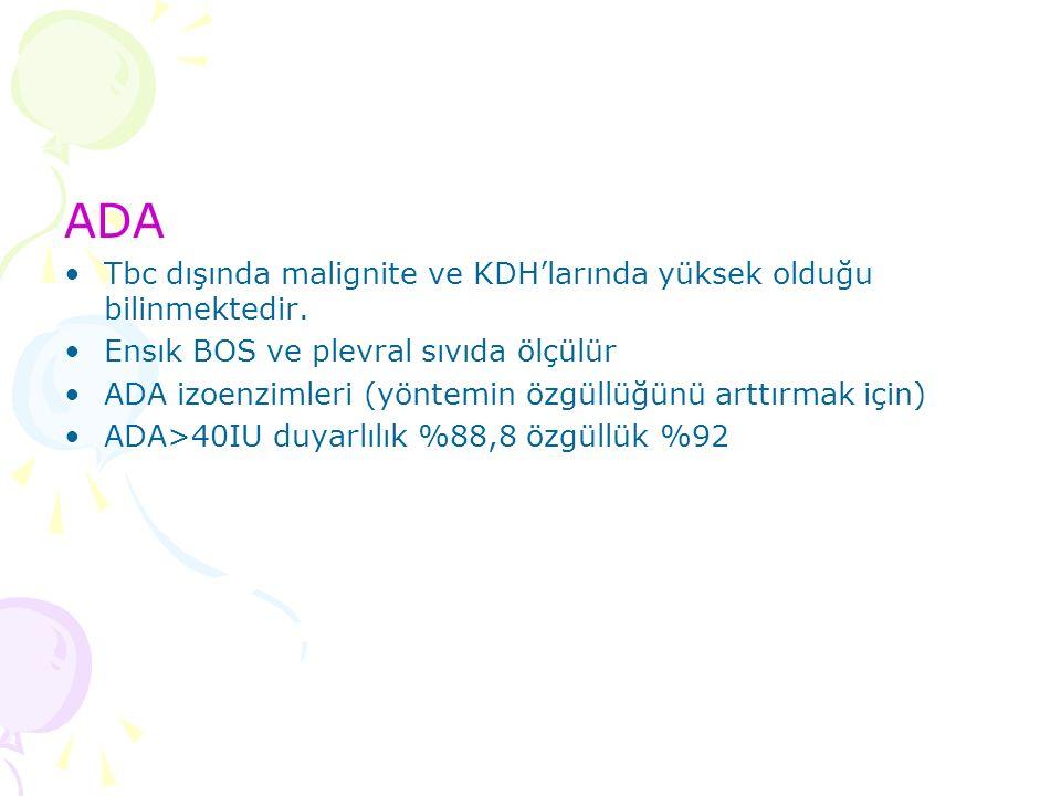 ADA Tbc dışında malignite ve KDH'larında yüksek olduğu bilinmektedir.
