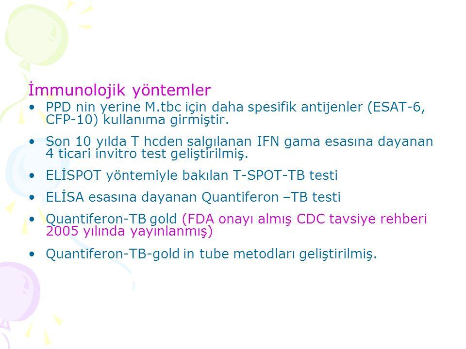 İmmunolojik yöntemler PPD nin yerine M.tbc için daha spesifik antijenler (ESAT-6, CFP-10) kullanıma girmiştir.