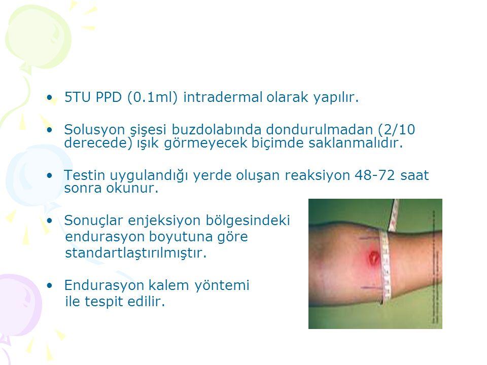 5TU PPD (0.1ml) intradermal olarak yapılır.