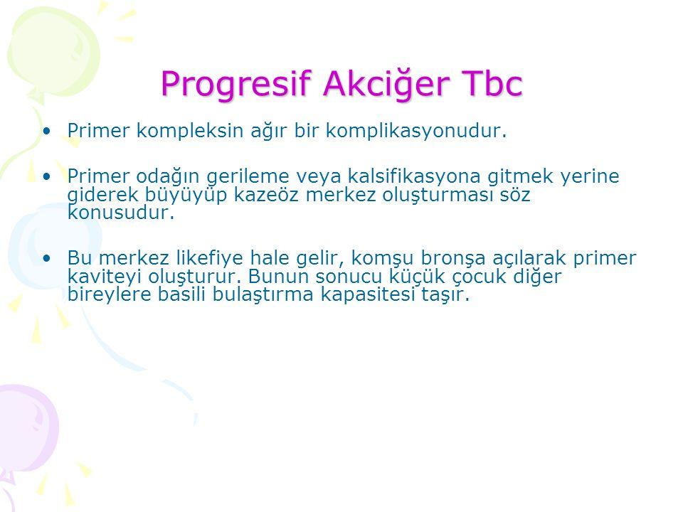 Progresif Akciğer Tbc Primer kompleksin ağır bir komplikasyonudur.