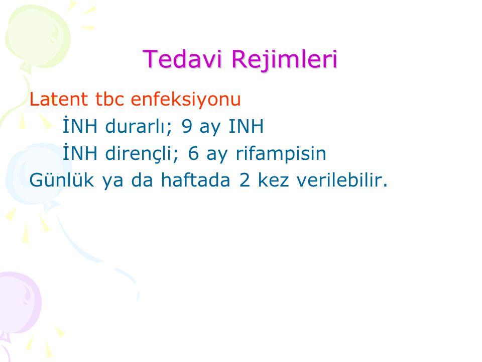 Tedavi Rejimleri Latent tbc enfeksiyonu İNH durarlı; 9 ay INH İNH dirençli; 6 ay rifampisin Günlük ya da haftada 2 kez verilebilir.