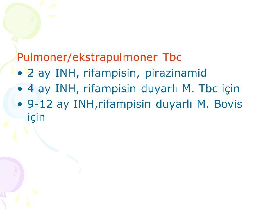 Pulmoner/ekstrapulmoner Tbc 2 ay INH, rifampisin, pirazinamid 4 ay INH, rifampisin duyarlı M.