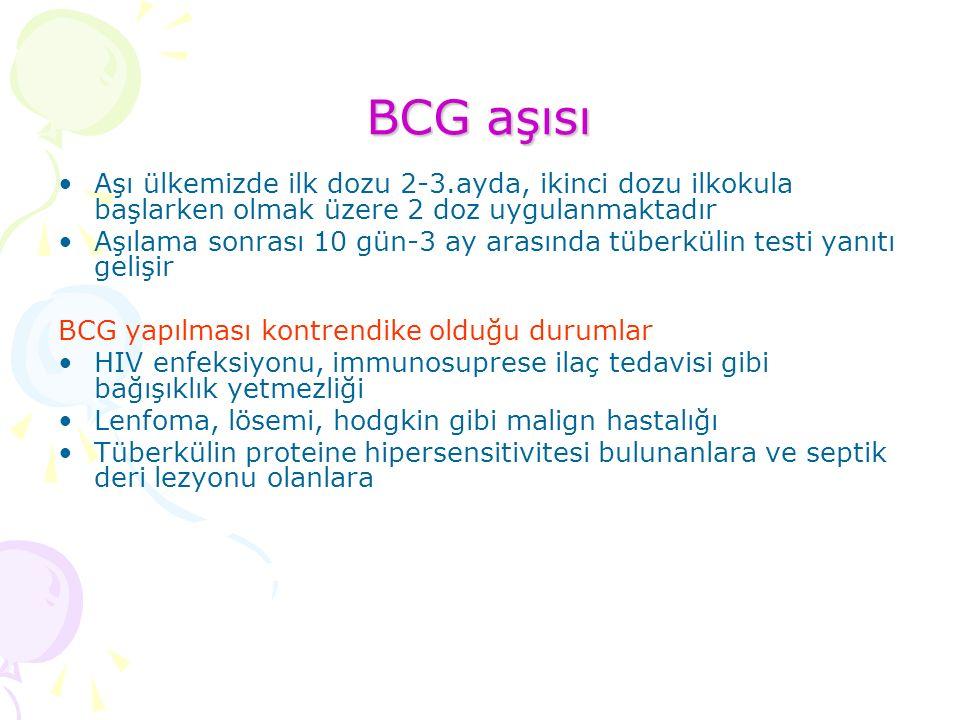 BCG aşısı Aşı ülkemizde ilk dozu 2-3.ayda, ikinci dozu ilkokula başlarken olmak üzere 2 doz uygulanmaktadır Aşılama sonrası 10 gün-3 ay arasında tüberkülin testi yanıtı gelişir BCG yapılması kontrendike olduğu durumlar HIV enfeksiyonu, immunosuprese ilaç tedavisi gibi bağışıklık yetmezliği Lenfoma, lösemi, hodgkin gibi malign hastalığı Tüberkülin proteine hipersensitivitesi bulunanlara ve septik deri lezyonu olanlara