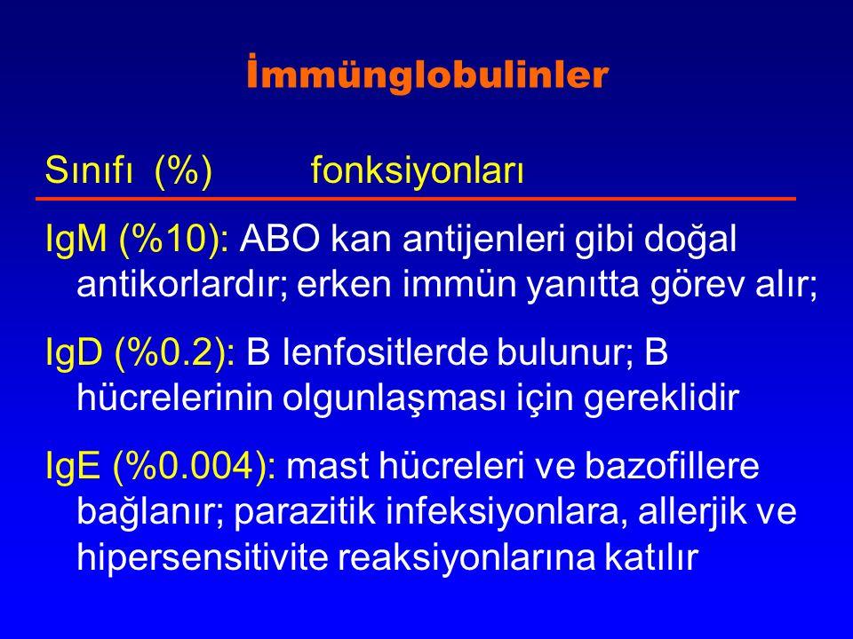 İmmünglobulinler Sınıfı (%) fonksiyonları IgM (%10): ABO kan antijenleri gibi doğal antikorlardır; erken immün yanıtta görev alır; IgD (%0.2): B lenfo