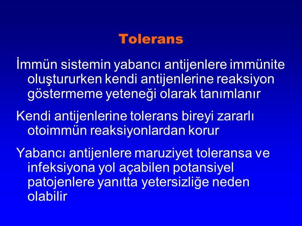 Tolerans İmmün sistemin yabancı antijenlere immünite oluştururken kendi antijenlerine reaksiyon göstermeme yeteneği olarak tanımlanır Kendi antijenler