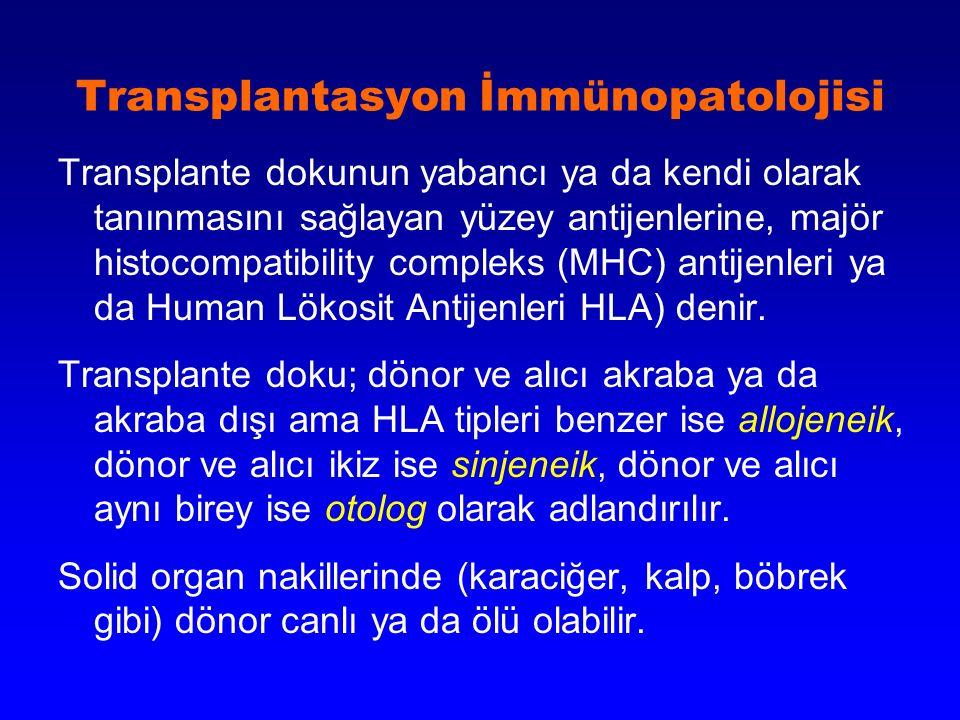 Transplantasyon İmmünopatolojisi Transplante dokunun yabancı ya da kendi olarak tanınmasını sağlayan yüzey antijenlerine, majör histocompatibility com