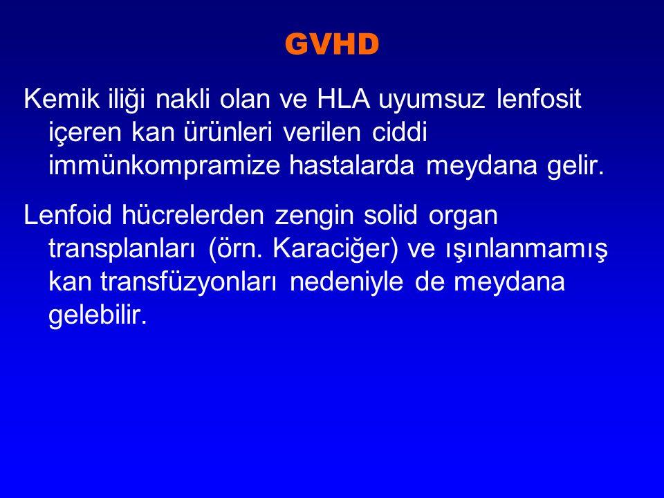 GVHD Kemik iliği nakli olan ve HLA uyumsuz lenfosit içeren kan ürünleri verilen ciddi immünkompramize hastalarda meydana gelir. Lenfoid hücrelerden ze