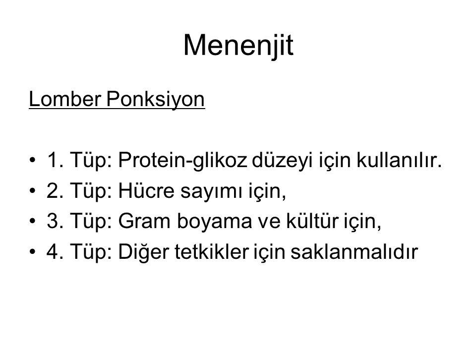Menenjit Lomber Ponksiyon 1. Tüp: Protein-glikoz düzeyi için kullanılır. 2. Tüp: Hücre sayımı için, 3. Tüp: Gram boyama ve kültür için, 4. Tüp: Diğer