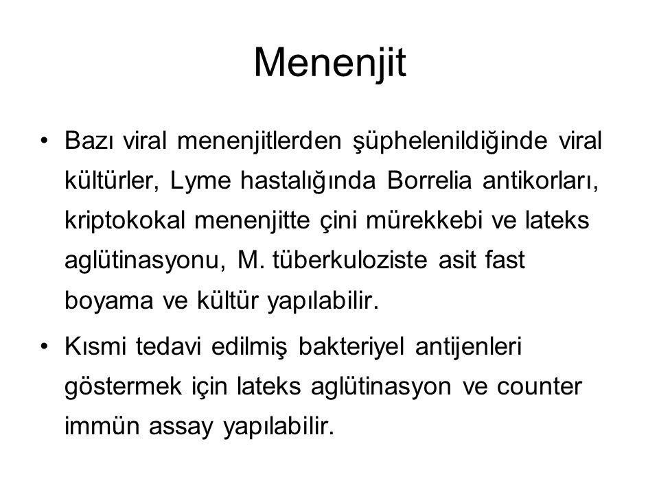 Menenjit Bazı viral menenjitlerden şüphelenildiğinde viral kültürler, Lyme hastalığında Borrelia antikorları, kriptokokal menenjitte çini mürekkebi ve