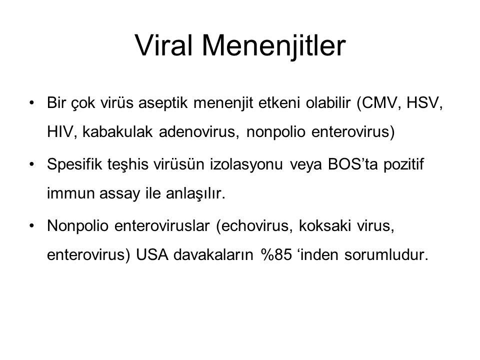 Viral Menenjitler Bir çok virüs aseptik menenjit etkeni olabilir (CMV, HSV, HIV, kabakulak adenovirus, nonpolio enterovirus) Spesifik teşhis virüsün i