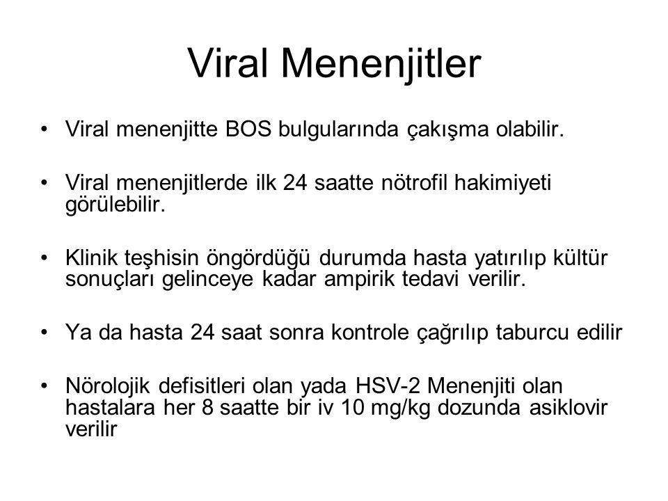 Viral Menenjitler Viral menenjitte BOS bulgularında çakışma olabilir. Viral menenjitlerde ilk 24 saatte nötrofil hakimiyeti görülebilir. Klinik teşhis