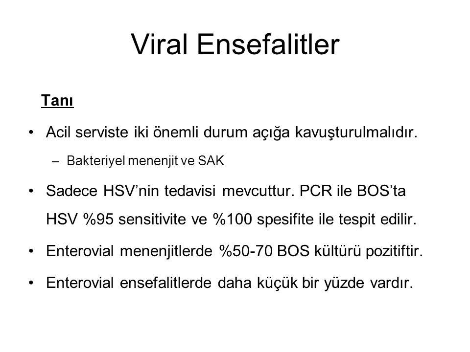 Viral Ensefalitler Tanı Acil serviste iki önemli durum açığa kavuşturulmalıdır. –Bakteriyel menenjit ve SAK Sadece HSV'nin tedavisi mevcuttur. PCR ile