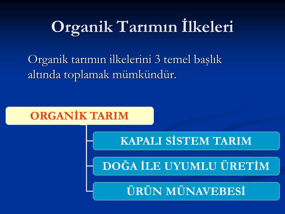Organik Tarımın İlkeleri Organik tarımın ilkelerini 3 temel başlık altında toplamak mümkündür.