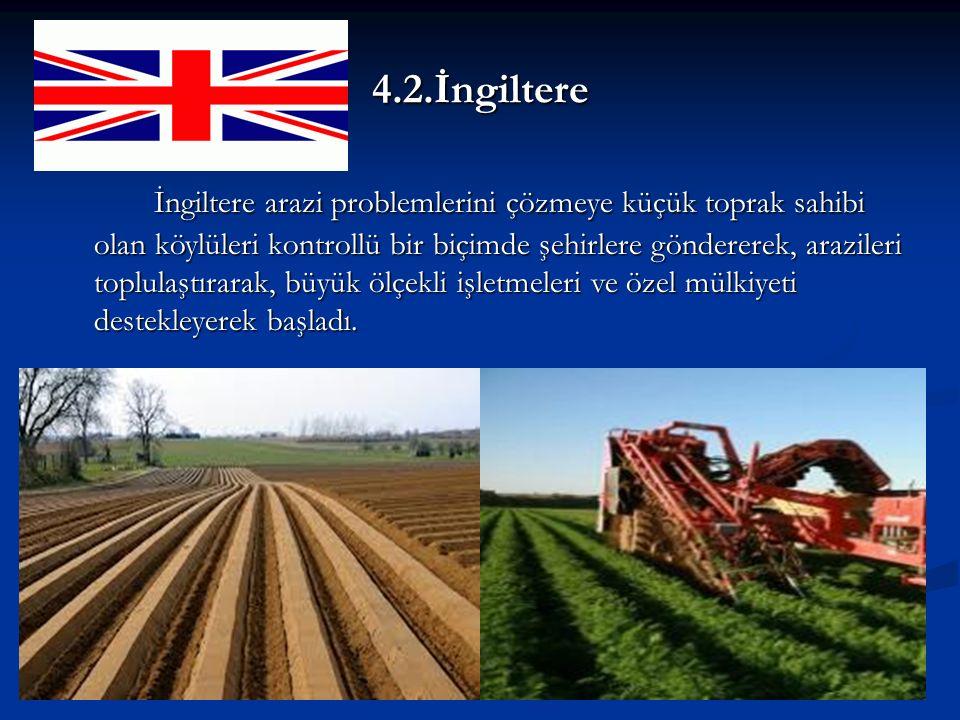 4.2.İngiltere İngiltere arazi problemlerini çözmeye küçük toprak sahibi olan köylüleri kontrollü bir biçimde şehirlere göndererek, arazileri toplulaştırarak, büyük ölçekli işletmeleri ve özel mülkiyeti destekleyerek başladı.