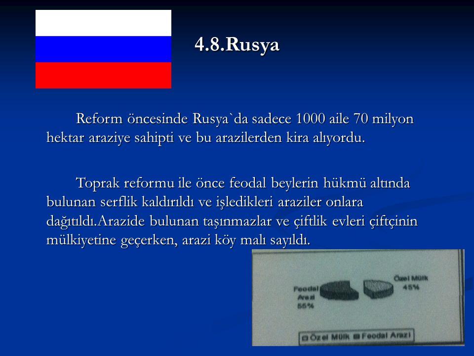 4.8.Rusya Reform öncesinde Rusya`da sadece 1000 aile 70 milyon hektar araziye sahipti ve bu arazilerden kira alıyordu.